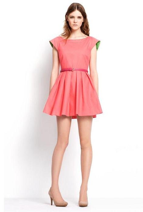 Zara pembe belden kemerli elbise