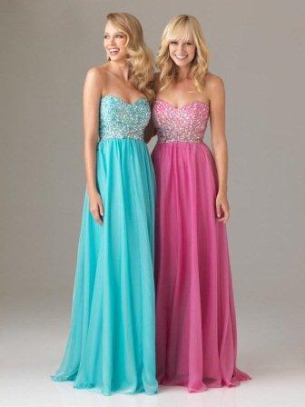 Uzun Mezuniyet Elbisesi Modelleri - pembe ve mavi mezuniyet elbiseleri