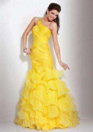 Uzun Mezuniyet Elbisesi Modelleri - tek omuz mezuniyet elbisesi modelleri