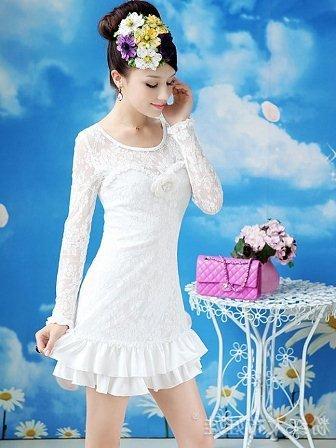 Uzun beyaz dantel abiye elbise modelleri