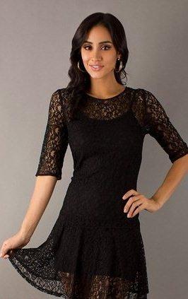 siyah dantel mini elbise modelleri1