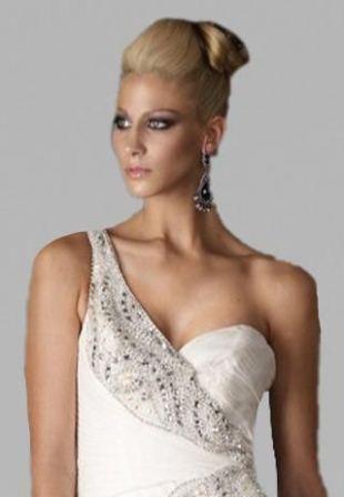 tek omuz beyaz abiye elbise modelleri