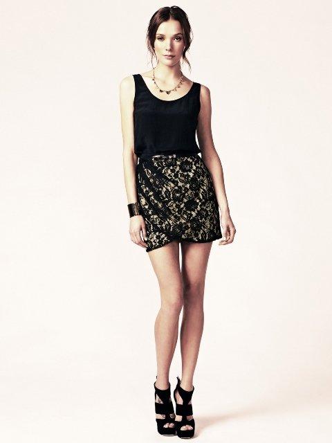 2013 siyah dantel mini Etek Modelleri