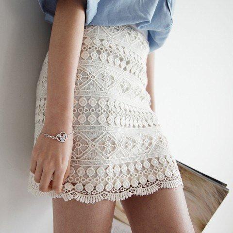beyaz dantel Etek Modelleri