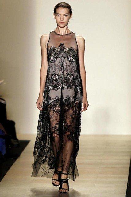 siyah transparan elbise modelleri