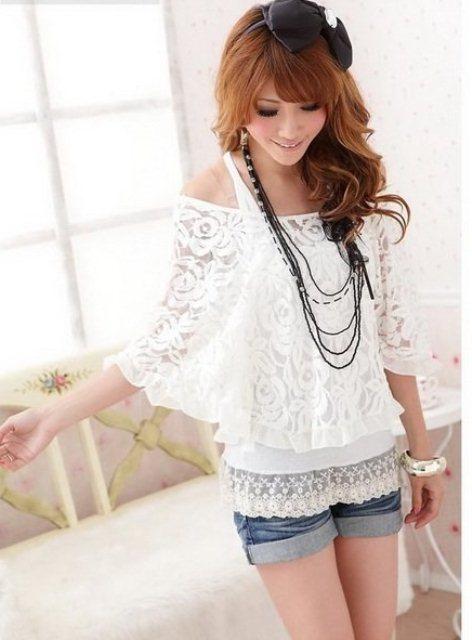 beyaz dantel bluz modeli