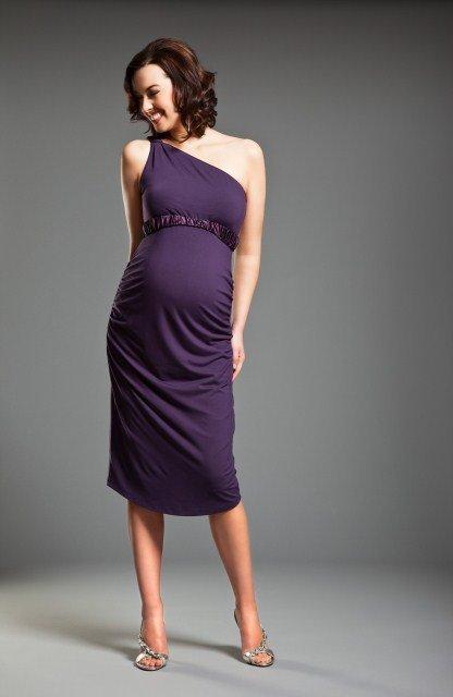 tek omuz hamile abiye elbise modeli