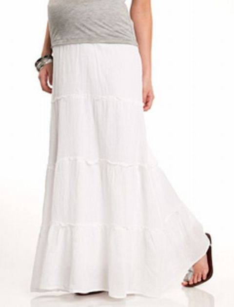 beyaz uzun hamile etek modeli
