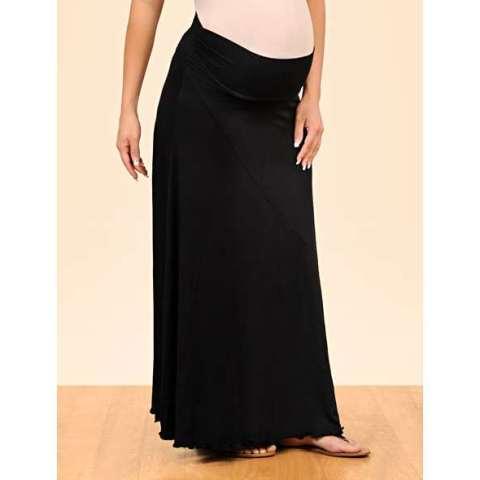 uzun siyah hamile etek modeli