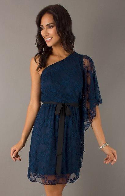 lacivert elbise modeli