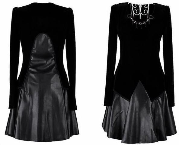 kadife deri abiye elbise