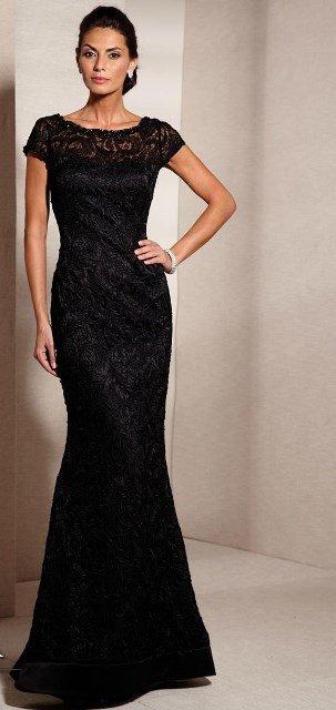 siyah dantel gece elbisesi