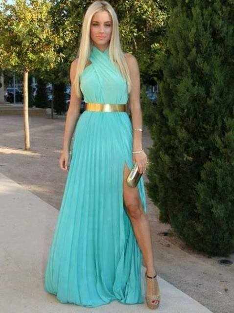 turkuaz renk abiye elbise