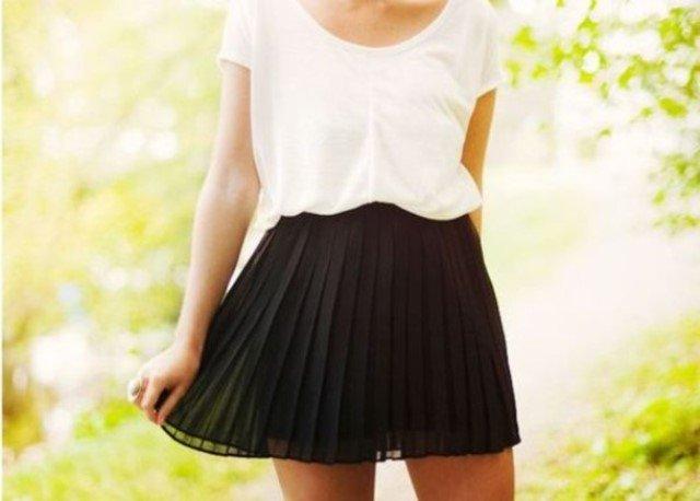 2014 ilkbahar yaz moda trendleri - siyah pileli etek modeli
