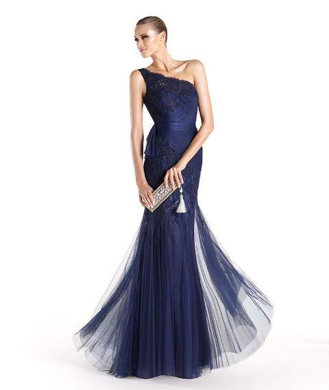 2014 ilkbahar yaz abiye elbise modelleri - gece mavisi abiye elbise modeli