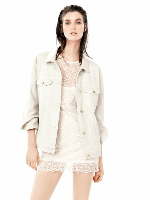 2014 mango yaz koleksiyonu - mango beyaz dantel elbise modeli