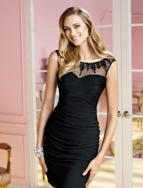 2014 mezuniyet elbisesi modelleri - siyah dar kesim mezuniyet elbisesi
