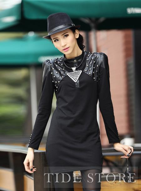 Perfect Slim Black Stand Collar Rivet Dress