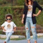 anne kiz ayni kot pantolon modeli