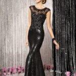 siyah uzun abiye elbise modeli