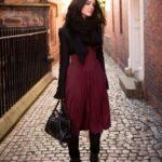 uzun bordo elbise modeli