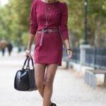 uzun kollu bordo elbise