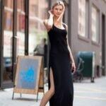 uzun siyah elbise modeli