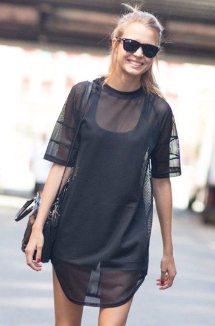 siyah transparan elbise modeli