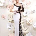 siyah beyaz gece elbisesi modeli