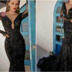 siyah dantel gece elbisesi modeli