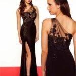 siyah uzun abiye elbise modelleri