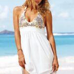 beyaz plaj elbisesi modeli