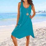 mavi plaj elbisesi modeli