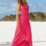 pembe plaj elbisesi modeli