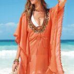 turuncu plaj elbisesi modeli