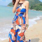 uzun plaj elbisesi modeli