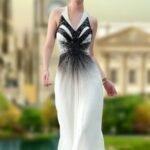 uzun beyaz abiye elbise modeli