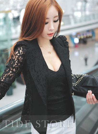 Fashion OL Style Slim Split Joint Lace Blazer