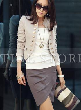 Stylish Europe Style Solid Color Blazer