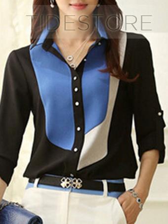Trendy Multi Color Long Sleeve Lapel Color Block Shirt