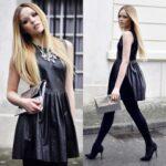 siyah deri elbise modelleri