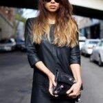 uzun kollu deri elbise modeli