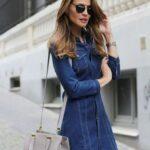 uzun kollu kot elbise modeli