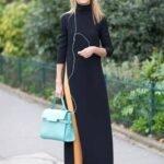uzun kollu siyah uzun elbise modeli
