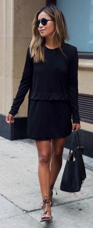 siyah elbise kombini