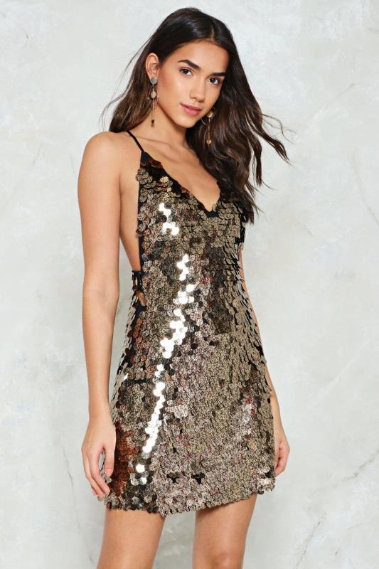payetli mini elbise modeli