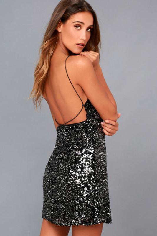 payetli mini elbise