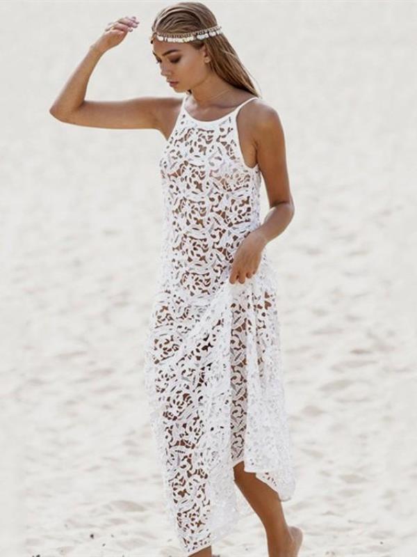 uzun dantel plaj elbisesi